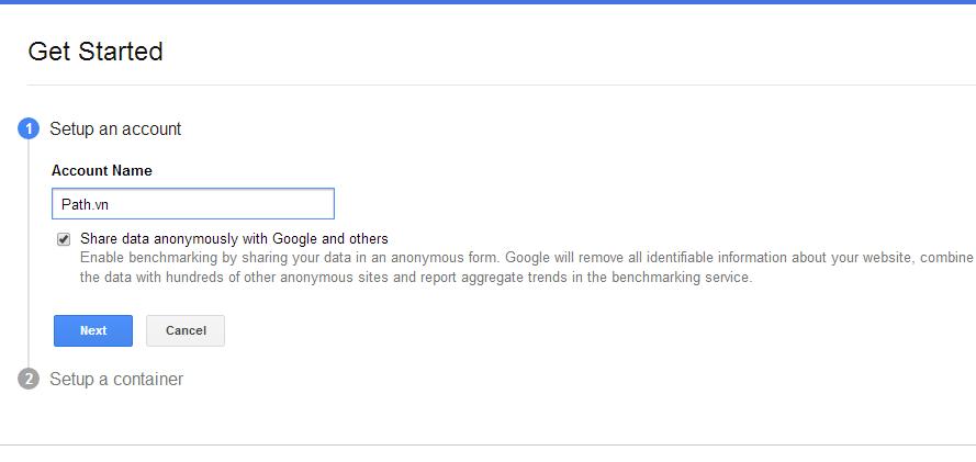 Tạo tài khoản Google Tag Manger