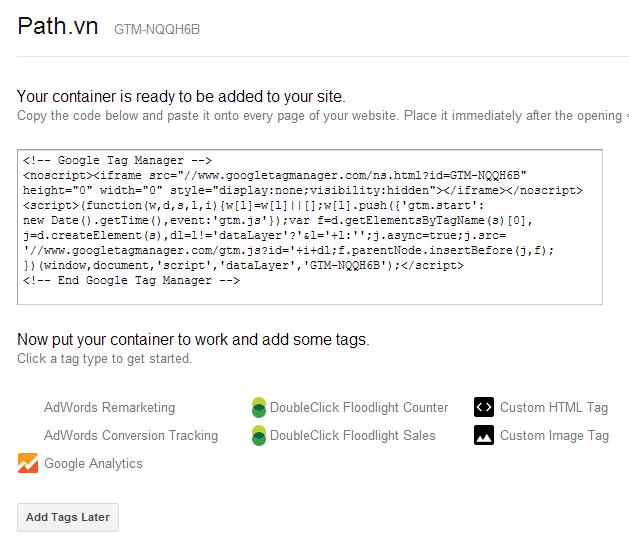 Gắn code một lần duy nhất vào website